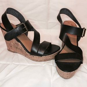 Strapped black mossimo wedges